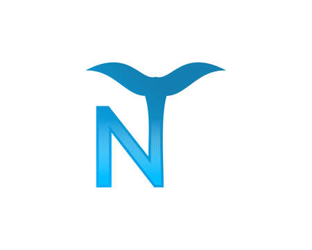 Illustration logo from letter N with fishtail logo design concept Illustration