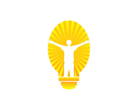Creative People Logo with Light Bulb Concept Vector