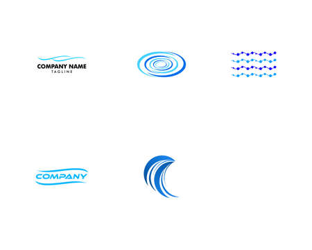 Set of Water Wave Logo Abstract Design Vector Template