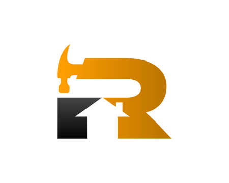 Initial Letter R Home Repair Service and Construction Concept Logo Design Template