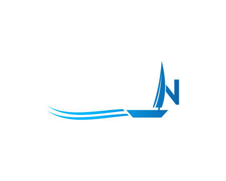 Initial Letter N with Sailboat Vector Logo Design