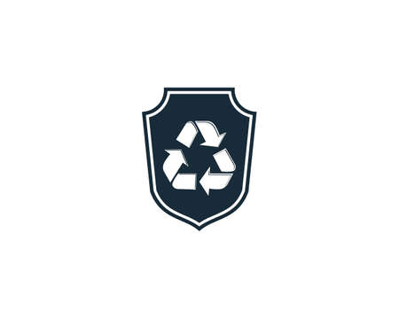 Recycle Shield Icon Vector Logo Template Illustration Design Illustration