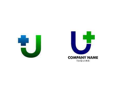 Set of Initial Letter U Cross Plus Logo, Medical Health Care Logo Template Design