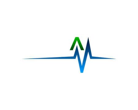 A Health Pulse Letter Logo Template Design Vector Illustration