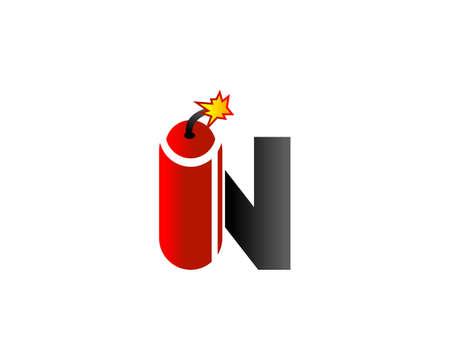 Initial Letter N bomb TNT Design Logo
