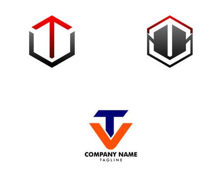 Set of Initial Letter TV Logo Template Design Illustration