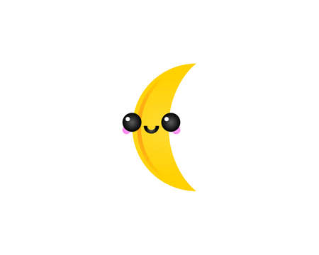 Vector Cute Moon Character Icon Logo Design, Illustration of Happy Face in Kawaii Style