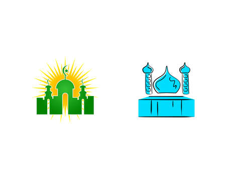 Set of Mosque Logo Template Design Vector Vettoriali
