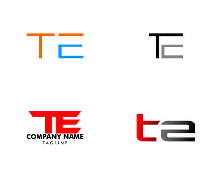 Set of Initial Letter TE Design Logo Vector