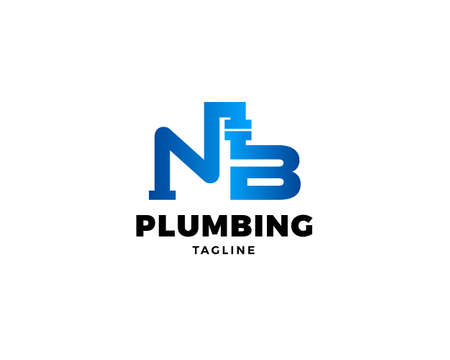 Initial letter NB plumbing pipe logo template vector icon illustration design