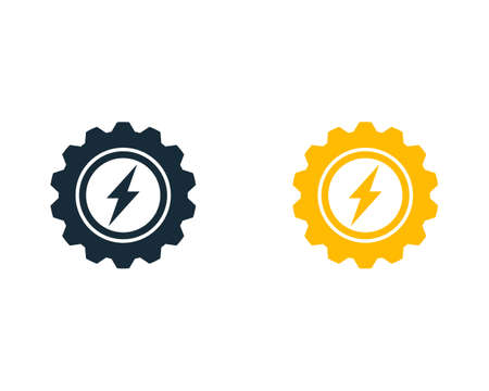 Thunder Bolt Gear Icon Vector Logo Template Illustration Design