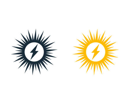 High Voltage Sunburn, Solar Icon Vector Logo Template Illustration Design