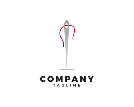 Needle with Thread Sewing Logo Template Vector Icon Illustration Design Vettoriali