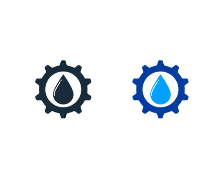 Drop Water Gear Icon Vector Logo Template Illustration Design Vettoriali