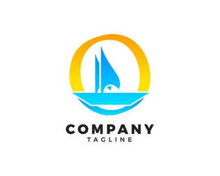 Initial Letter O with Sailboat Vector  Design
