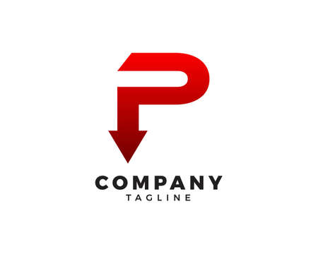 Initial Letter P Arrow Logo Template Design
