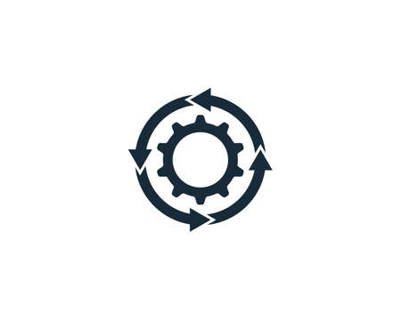 Gear Circle Rotate Arrow Icon Design Template Elements