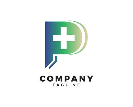 P Initial Letter Cross Medical Vector Template