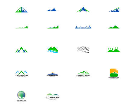 Set of Mountains Logo Design Vector Template