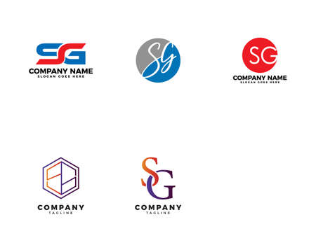 Set of Initial Letter SG Logo Template Design