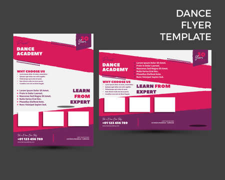 Dance Academy Flyer Template Vector Illustration Vecteurs