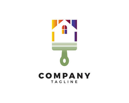 House Painting Logo Template Design Vector Vettoriali