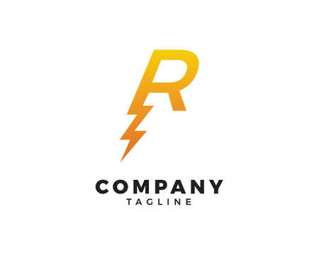 Letter R thunder bolt design logo