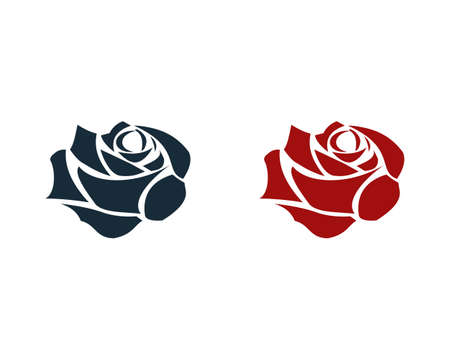 Red Rose Flower Icon Vector Logo Template Illustration Design
