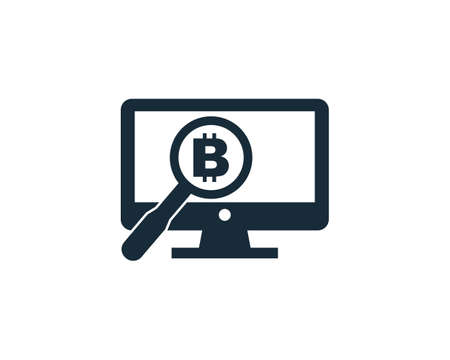 Bitcoin Sign Screen and Magnifying Glass Icon Design Template Elements Vettoriali