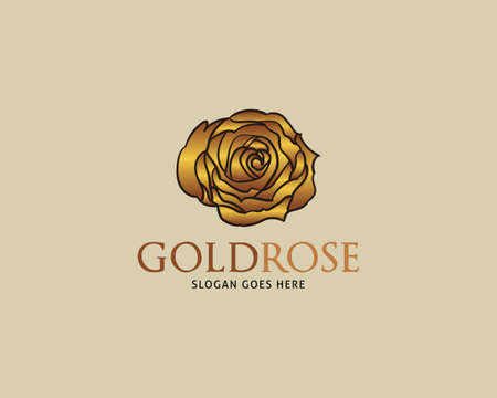 Golden Rose Vector Logo Design Template Illusztráció