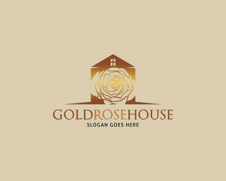 Golden Rose House Vector Logo Design Template