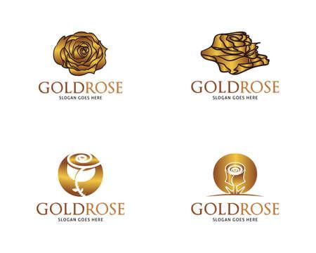 Set of Golden Rose Vector Logo Design Template