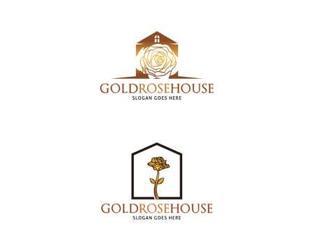 Set of Golden Rose House Vector Logo Design Template Illusztráció