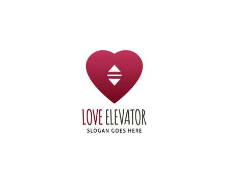 Love lift or elevator logo vector template Illusztráció