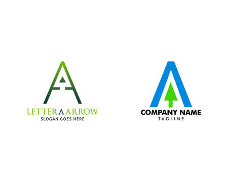 Set of A Letter with Arrow Logo Template