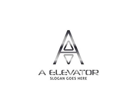 Initial Letter A Lift or Elevator Logo Vector Template