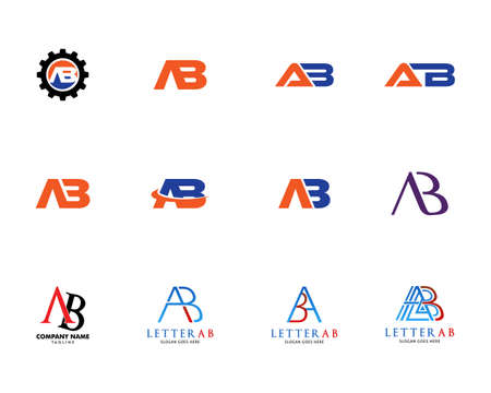 Set of Initial Letter AB Logo Template Design