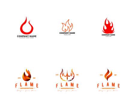 Set of Fire Flame Logo Design Vector Template Illusztráció