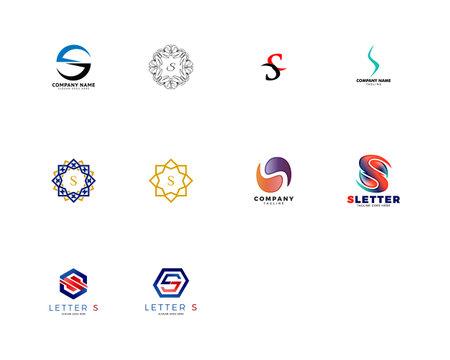 Set of Initial Letter S Logo Template Design Illusztráció