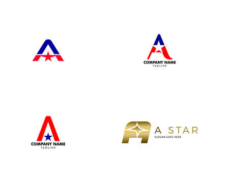 Set of Letter A Star Logo Icon Design Template Elements Vector