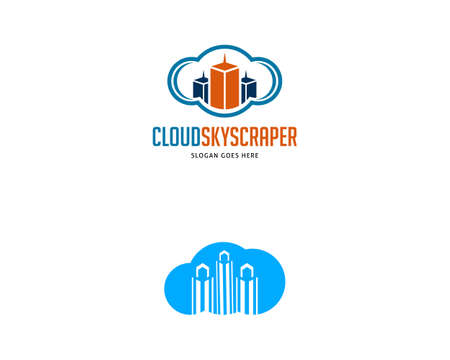 Set of Skyscraper with Cloud Vector Icon Illustration Design Illusztráció