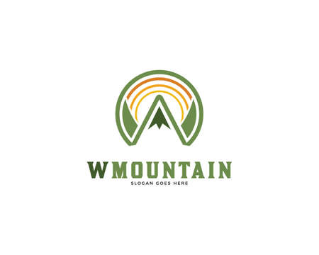 Initial Letter W Mountain Logo Vector Icon Illustration