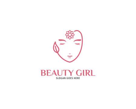 Woman face logo design vector illustration, Girl silhouette for cosmetics, beauty, salon, health and spa, fashion themes Illusztráció