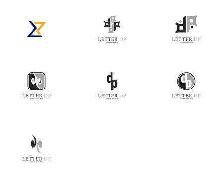 Set of Initial Letter DP Logo Template Design