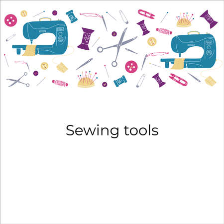 Vector illustration of sewing tools for atelier. Illustration with sewing machine, scissors, neddles, pins, threads, buttons and pincushion on purple background. Illustration for courses of cutting and sewing.