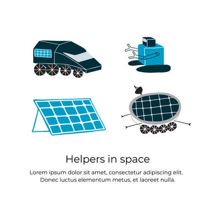 A robots and solar batteries are helpers in space. Handdrawn vector illustration of things which helps astronauts and colonists to explore and live on the planets and satellines. Illustration