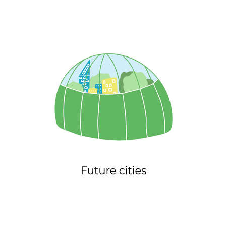 Space cities on planets under the dome. Handdrawn vector illustration of future futuristic home of colonists on planets and satellines. Under the dome there are buildings and trees. Illustration