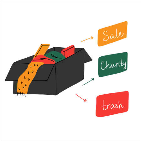 A box with unnecessary stuff after decluttering wardrobe. Things may to be sale, go to charity or to be thrown away if its are unsuitable. Hand drawn vector illustration of zero waste living.