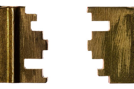 oxidated: Two sides of a scrached oxidized key on white background Stock Photo