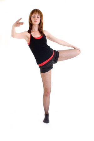 Nice young girl dancing jazz